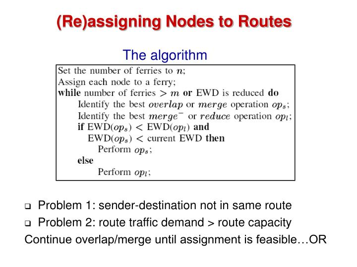 (Re)assigning Nodes to Routes