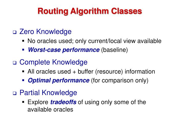 Routing Algorithm Classes