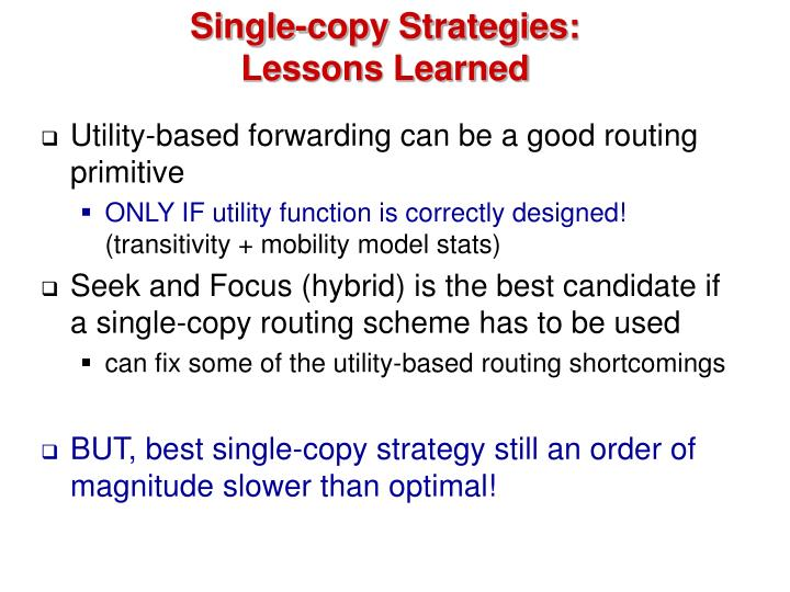 Single-copy Strategies: