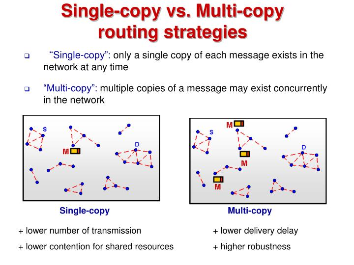 Single-copy vs. Multi-copy routing strategies