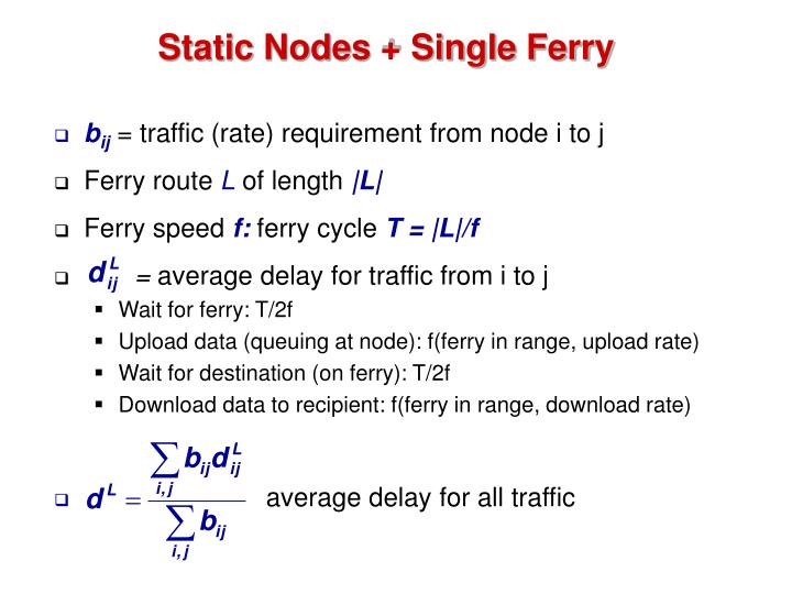 Static Nodes + Single Ferry