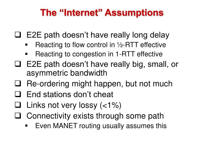 "The ""Internet"" Assumptions"