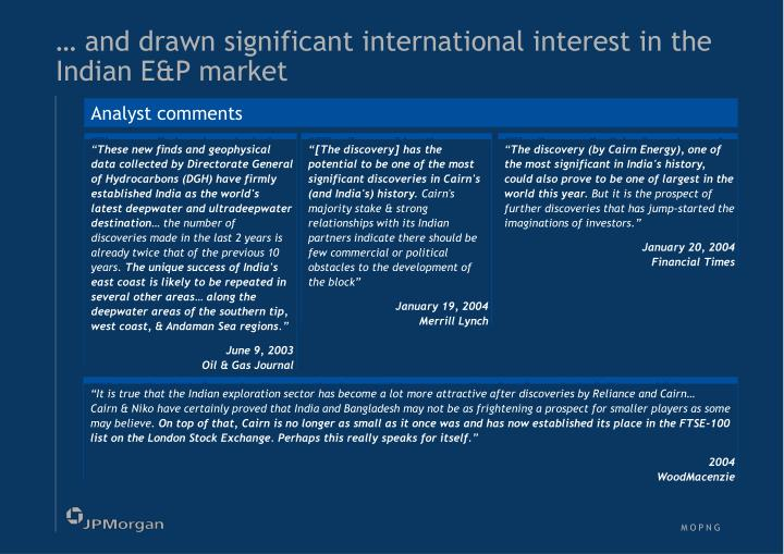 … and drawn significant international interest in the Indian E&P market