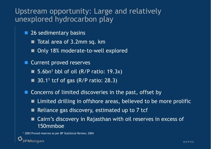 Upstream opportunity: Large and relatively unexplored hydrocarbon play
