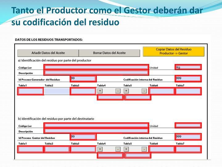 Tanto el Productor como el Gestor deberán dar su codificación del residuo