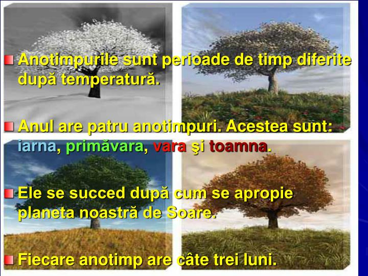 Anotimpurile sunt perioade de timp diferite după temperatură.