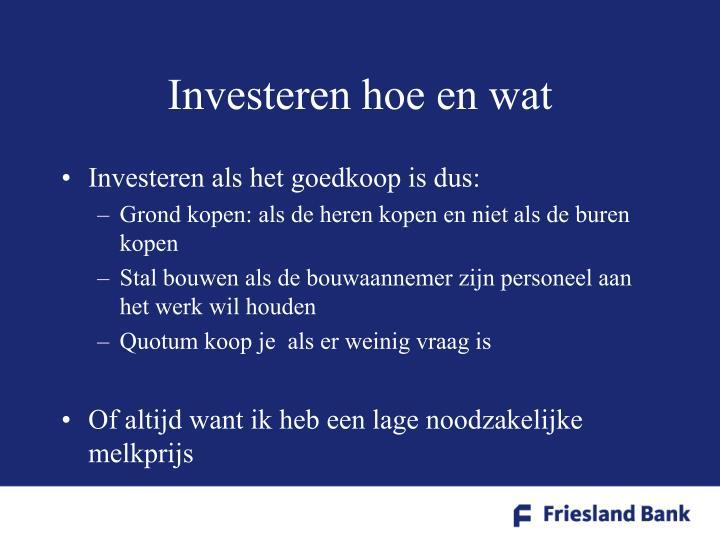 Investeren hoe en wat