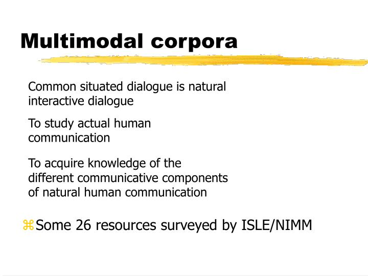 Multimodal corpora