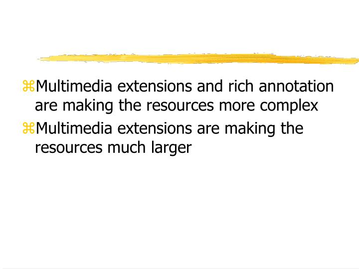 Multimedia extensions and rich annotation are making the resources more complex