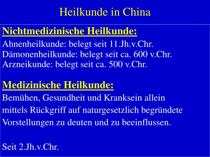 Heilkunde in china