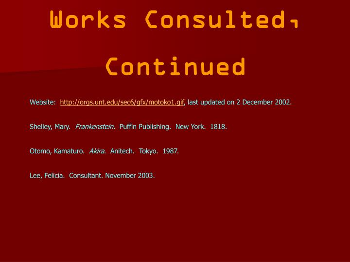 Works Consulted,