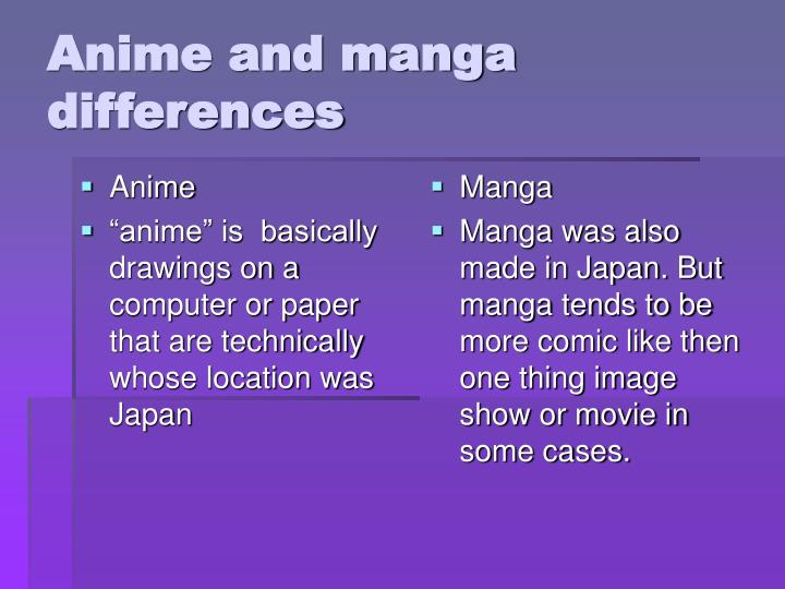 Anime and manga differences