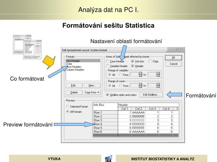 Formátování sešitu Statistica