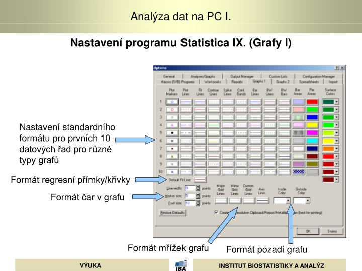 Nastavení programu Statistica IX. (Grafy I)