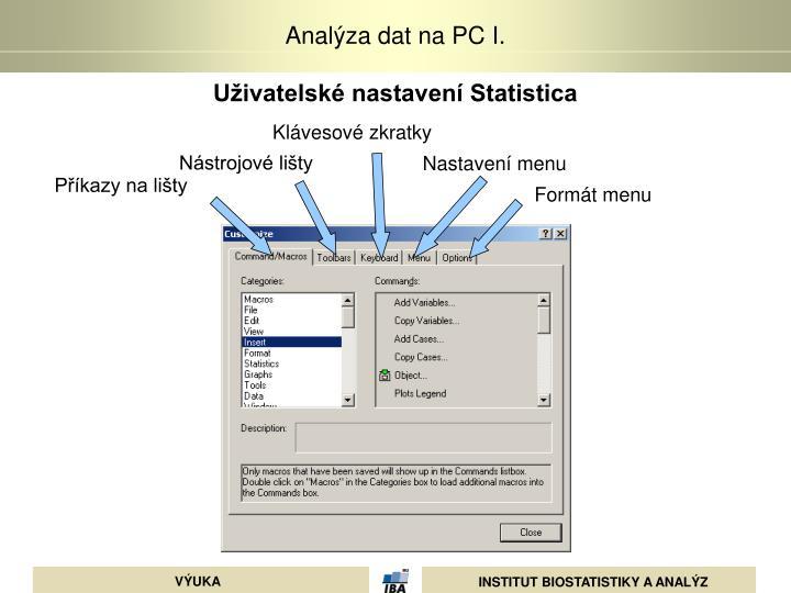 Uživatelské nastavení Statistica