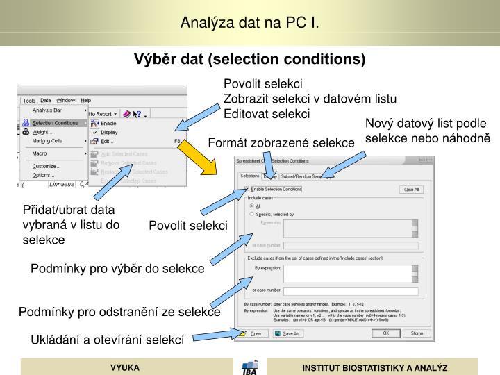 Výběr dat (selection conditions)