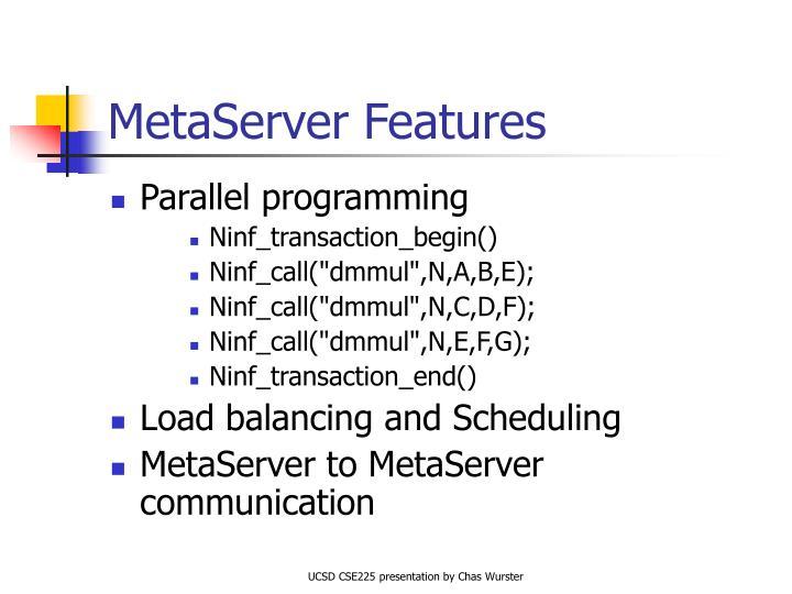 MetaServer Features