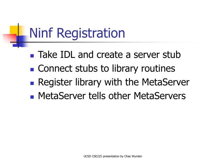 Ninf Registration