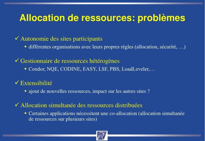 Allocation de ressources: problèmes