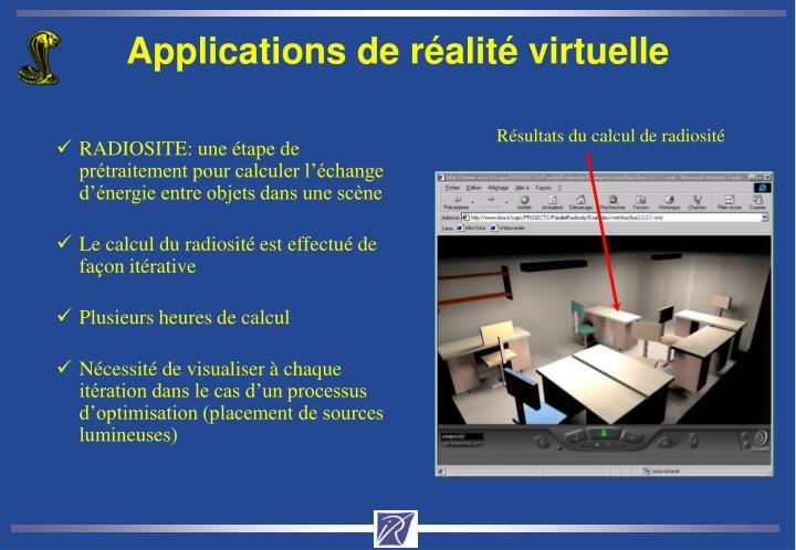 Applications de réalité virtuelle
