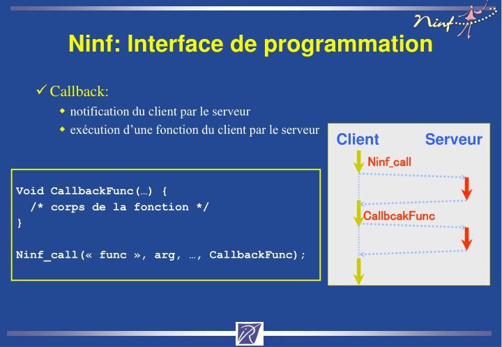 Ninf: Interface de programmation