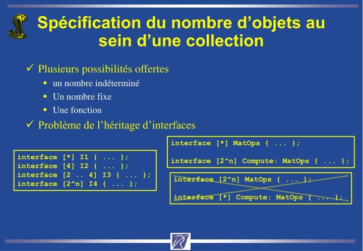 Spécification du nombre d'objets au sein d'une collection