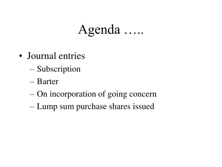 Agenda …..