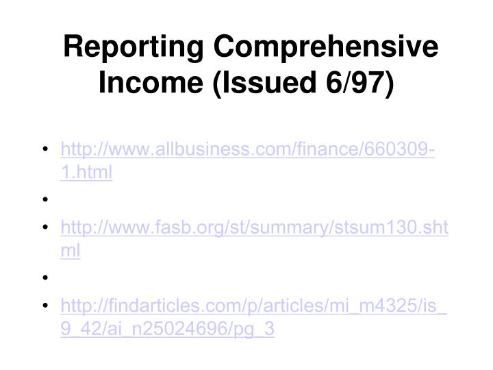 Reporting Comprehensive Income (Issued 6/97)
