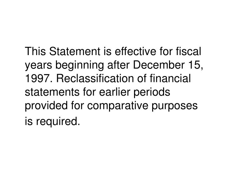 This Statement is effective for fiscal years beginning after December 15, 1997. Reclassification of financial statements for earlier periods provided for comparative purposes is required.