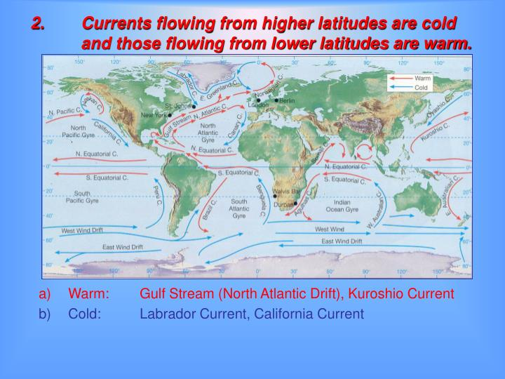 2.Currents flowing from higher latitudes are cold and those flowing from lower latitudes are warm.