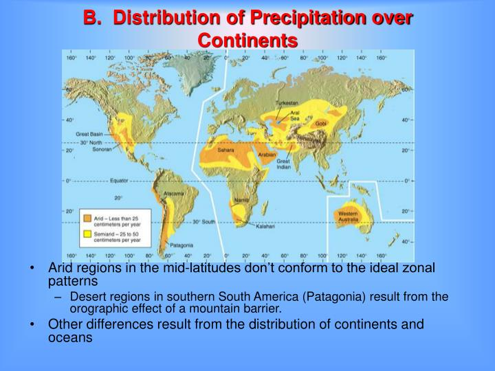 B.  Distribution of Precipitation over Continents