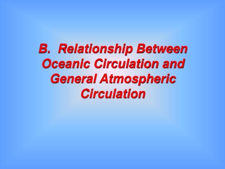 B.  Relationship Between Oceanic Circulation and General Atmospheric Circulation