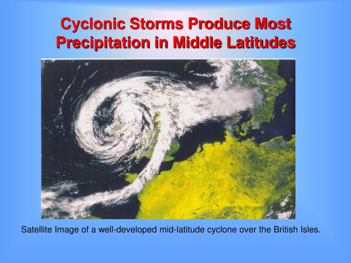 Cyclonic Storms Produce Most Precipitation in Middle Latitudes