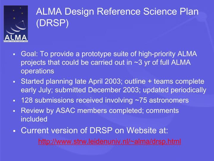 ALMA Design Reference Science Plan