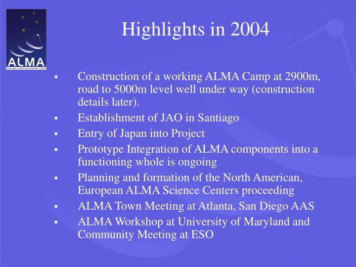 Highlights in 2004