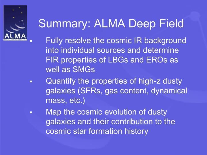 Summary: ALMA Deep Field