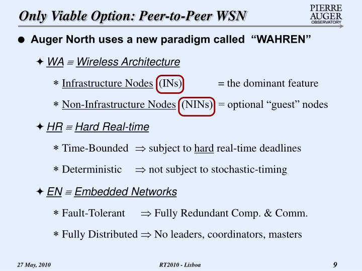 Only Viable Option: Peer-to-Peer WSN