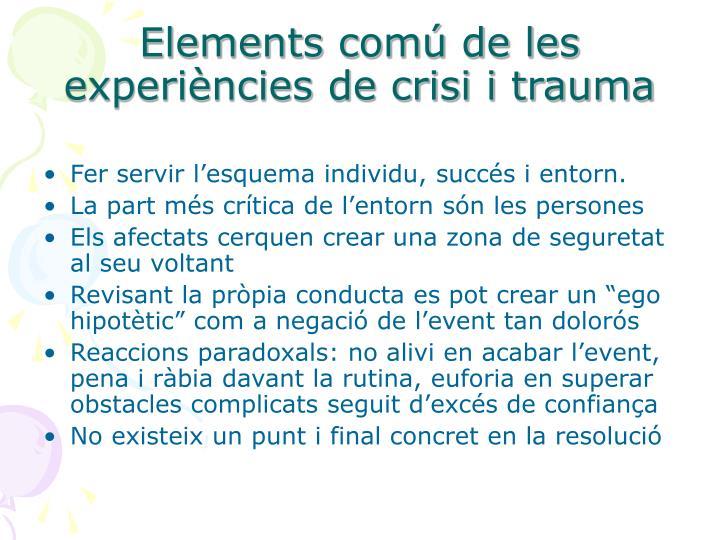Elements comú de les experiències de crisi i trauma