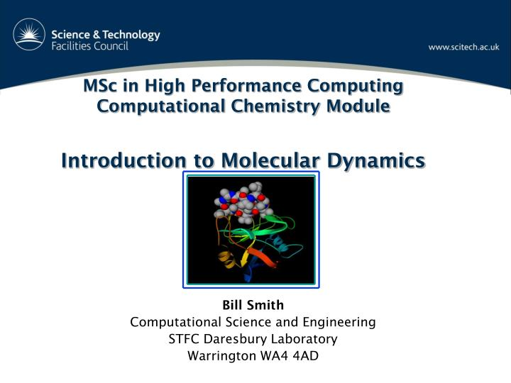 Msc in high performance computing computational chemistry module introduction to molecular dynamics