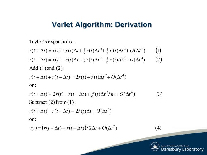 Verlet Algorithm: Derivation