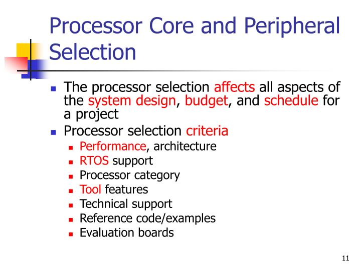 Processor Core and Peripheral Selection