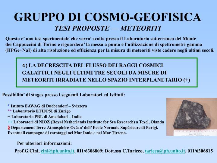 GRUPPO DI COSMO-GEOFISICA