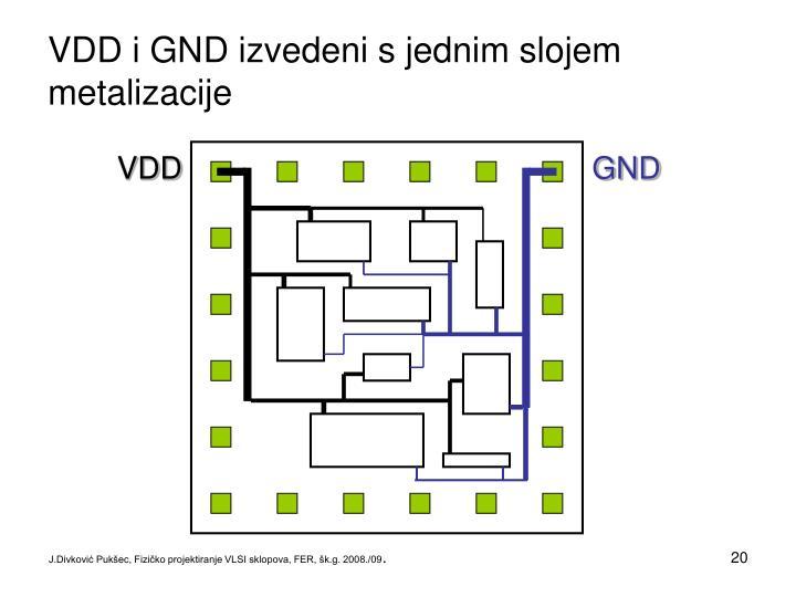 VDD i GND izvedeni s jednim slojem metalizacije