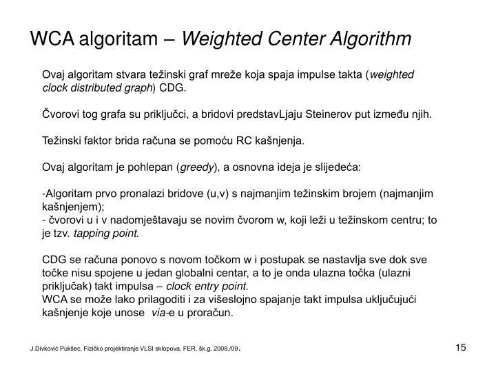 WCA algoritam –