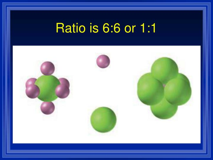 Ratio is 6:6 or 1:1