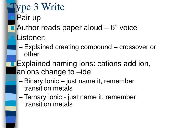 Type 3 Write