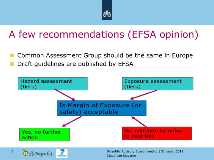 A few recommendations (EFSA opinion)