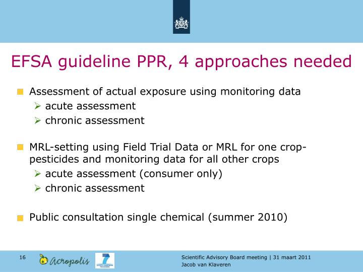EFSA guideline PPR, 4 approaches needed