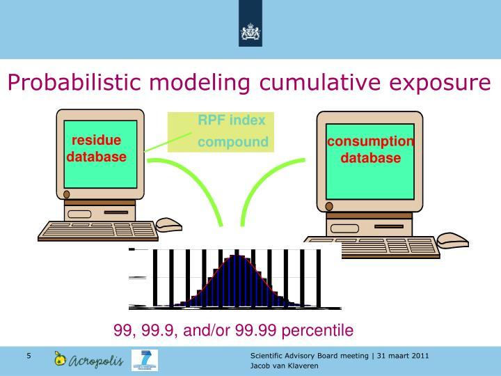 Probabilistic modeling cumulative exposure