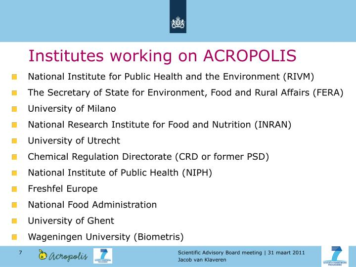Institutes working on ACROPOLIS